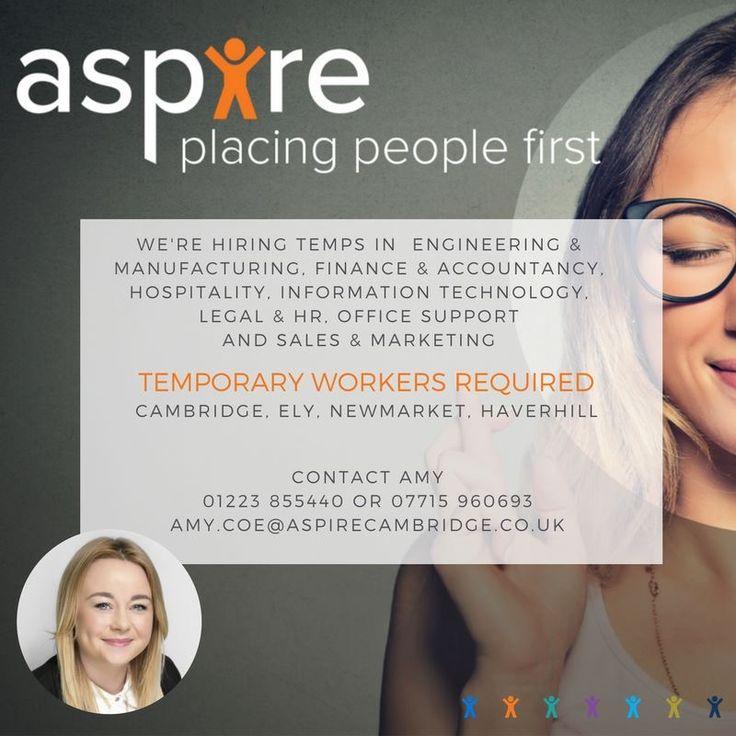 We're Hiring Temps! 01223 855440