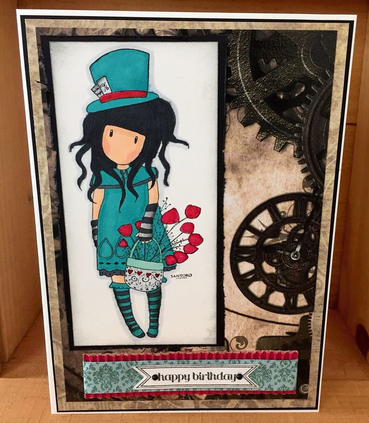 Happy Birthday Card| Blank Card, Steam Punk, The Hatter, Santoro London by CreativeCraftCo on Etsy https://www.etsy.com/listing/232373202/happy-birthday-card-blank-card-steam