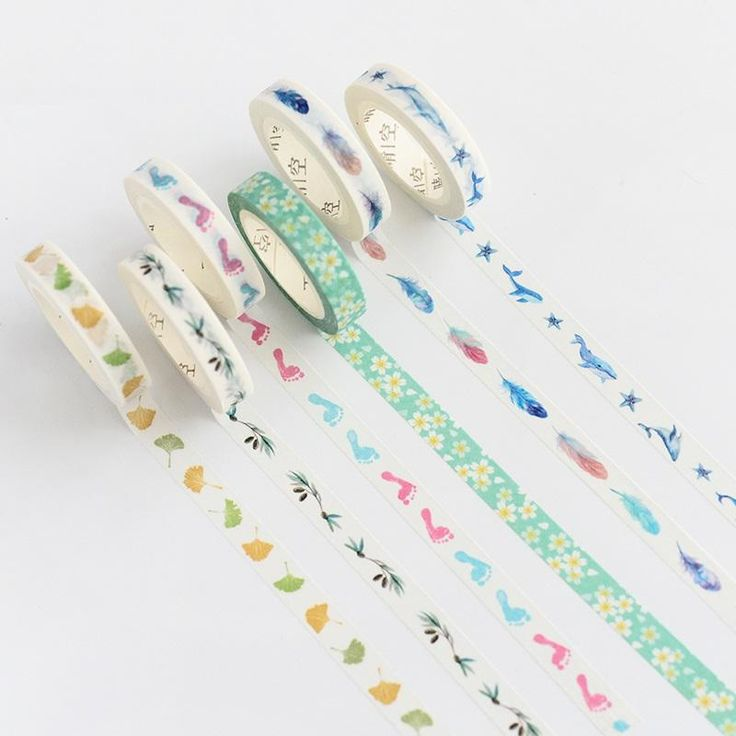 Stock clearance 6 pcs/Lot Slim 8mm masking tapes Parting washi tape decorative scotch tape diary sticker School supplies A6727