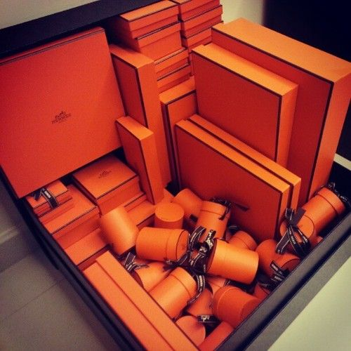 HERMÈS PARIS! Can never have enough of these sturdy orange boxes tied with the brown ribbon.