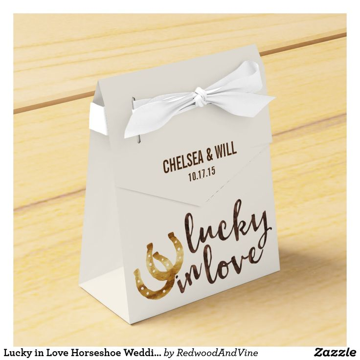 """Lucky in Love Horseshoe Wedding Favor Favor Box Design features two golden horseshoes and """"Lucky in Love"""" in warm autumn brown watercolor. Customize with your names and date for a perfect wedding favor box! Coordinating accessories available in our shop."""