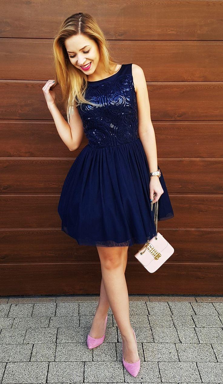 Tiulowa cekinowa sukienka Grace w kolorze granatowym  Navy blue, sequin, tulle dress
