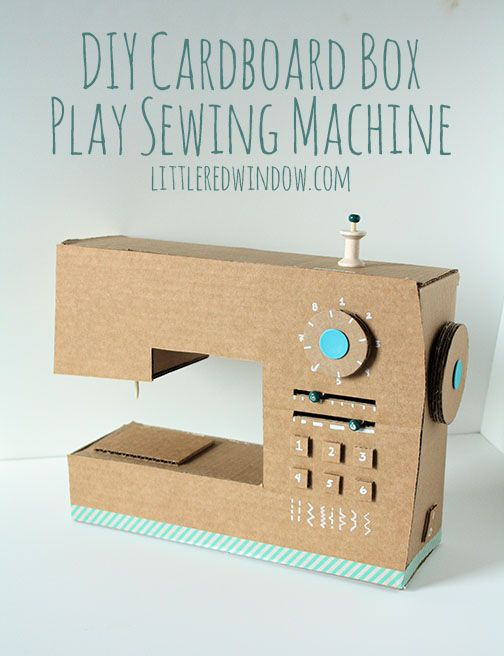 DIY Cardboard Box Play Sewing Machine | littleredwindow.com | Great tutorial for an adorable play sewing machine made out of an old box!: Sewing Machines, Craft, Idea, Cardboard Boxes, Sewingmachine, Diy Cardboard, Kid