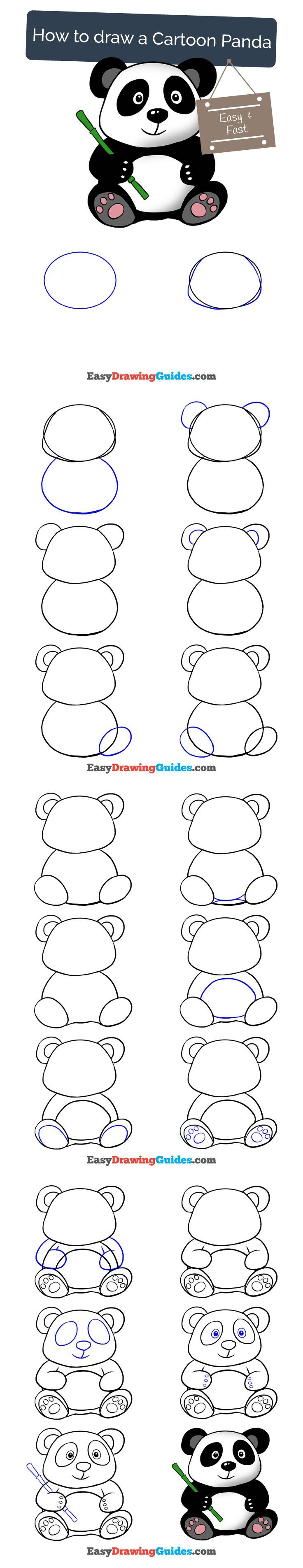 Learn How to Draw a Cartoon Panda: Easy Step-by-Step Drawing Tutorial for Kids and Beginners. #panda #cartoon #drawing #tutorial. See the full tutorial at https://easydrawingguides.com/draw-cartoon-panda/