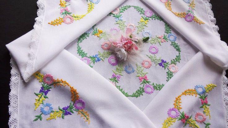 Винтажный вышитый вручную-белый шелк скатерть с кружевной край | eBay