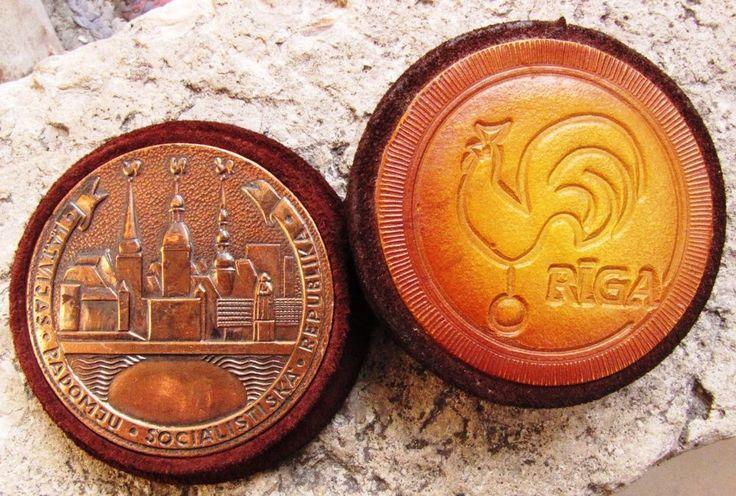 USSR latvia lettland Suede bronze Medal Rooster Riga Latvian Soviet Socialist