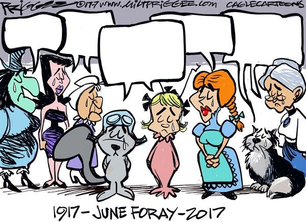 Milt Priggee - www.miltpriggee.com - June Foray -RIP - English - June Foray, animation, voice actress, voice over, TV, movies, Lucifer, Cinderella, Rocky the Flying Squirrel, Cindy Lou Who, Grinch, Natasha,, Nell, Witch Hazel, Granny, obit, RIP