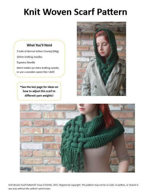 SALE The Celtic knit Woven Scarf Pattern giant by LoopTeeLoops