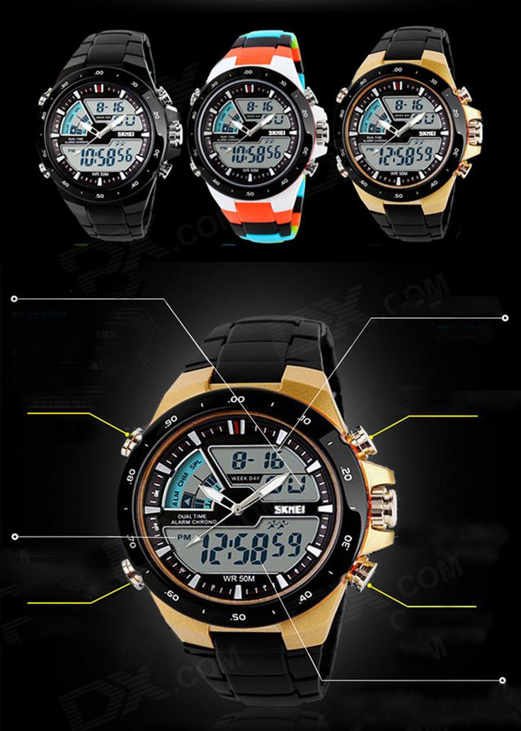 SKMEI 1016 Men's Waterproof Analog + Digital Sports Watch - Black - Free Shipping - DealExtreme