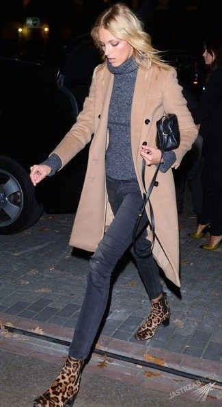 Women's Beige Coat, Charcoal Turtleneck, Charcoal Ripped Skinny Jeans, Tan Leopard Suede Chelsea Boots
