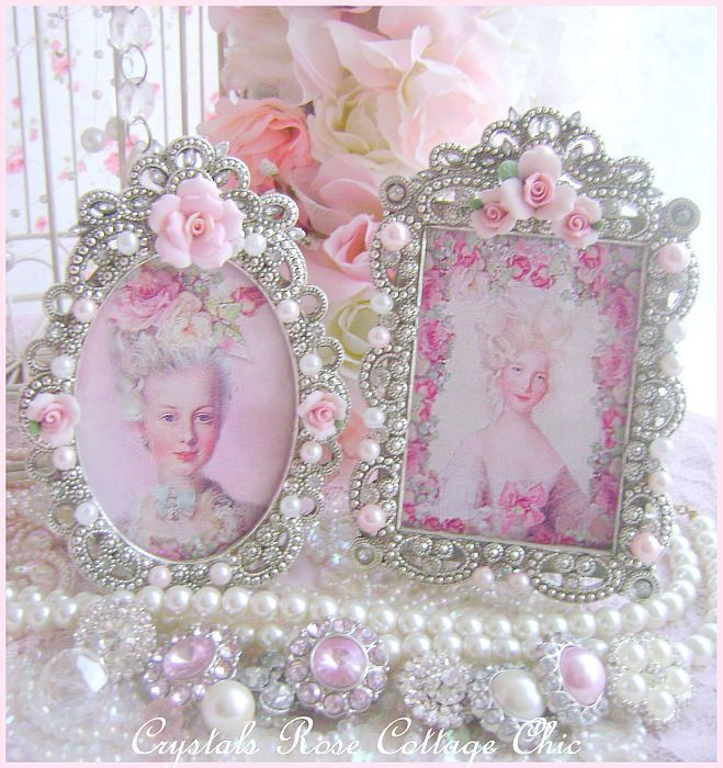 pictures of bejeweled frames | pink porcelain rose marie frame 2 beautiful shabby chic frame with ...