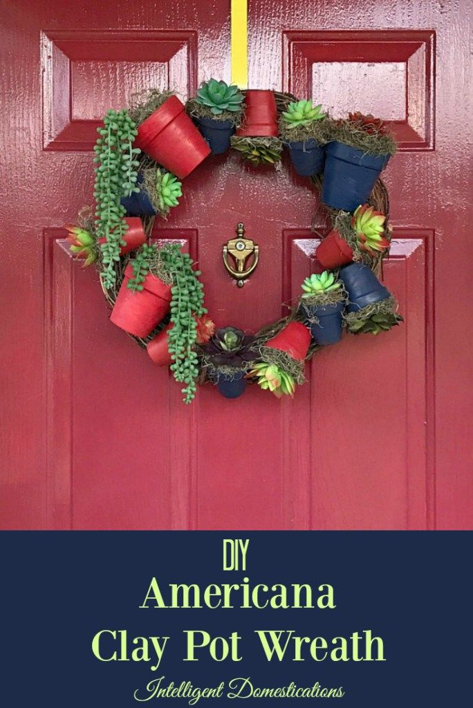 How to Make an Americana Clay Pot Wreath. Step by step tutorial with photos. It's a Dollar Tree decor craft! #ad #dollartree