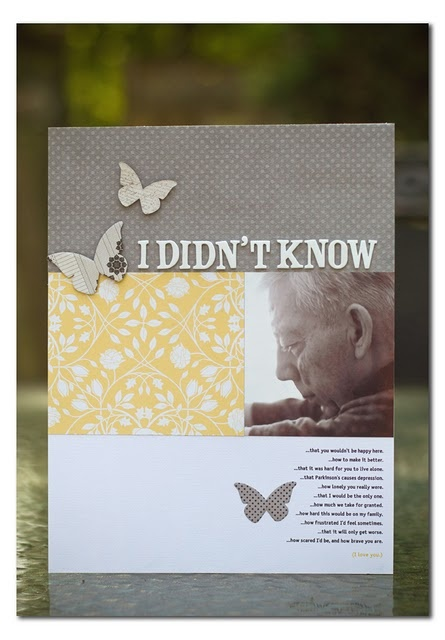 what a beautiful, touching message. THIS is what scrapbooking is all about. People get so caught up in adding all of the embellishments and crap that I don't even see the photo or the message they are trying to portray. This layout is true scrapbooking and preserving memories.