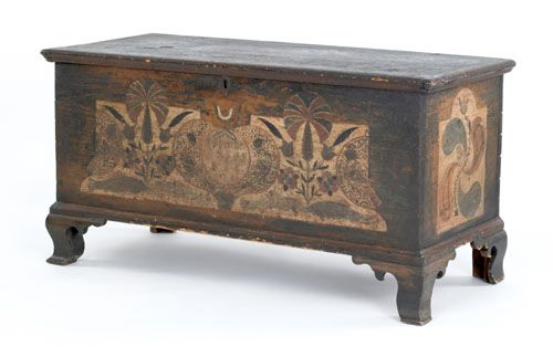 Pennsylvania painted dower chest dated 1781, the front decorated with parrots, fish, and tulips on a green ground, the sides with bold philphlots and tulips.