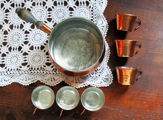 Swedish Vintage Copper Cups and Pot Set, Miniature Copper Cups, Copper Pot, Brass Goblets, Saucepan, 1970s Scandinavian Tableware