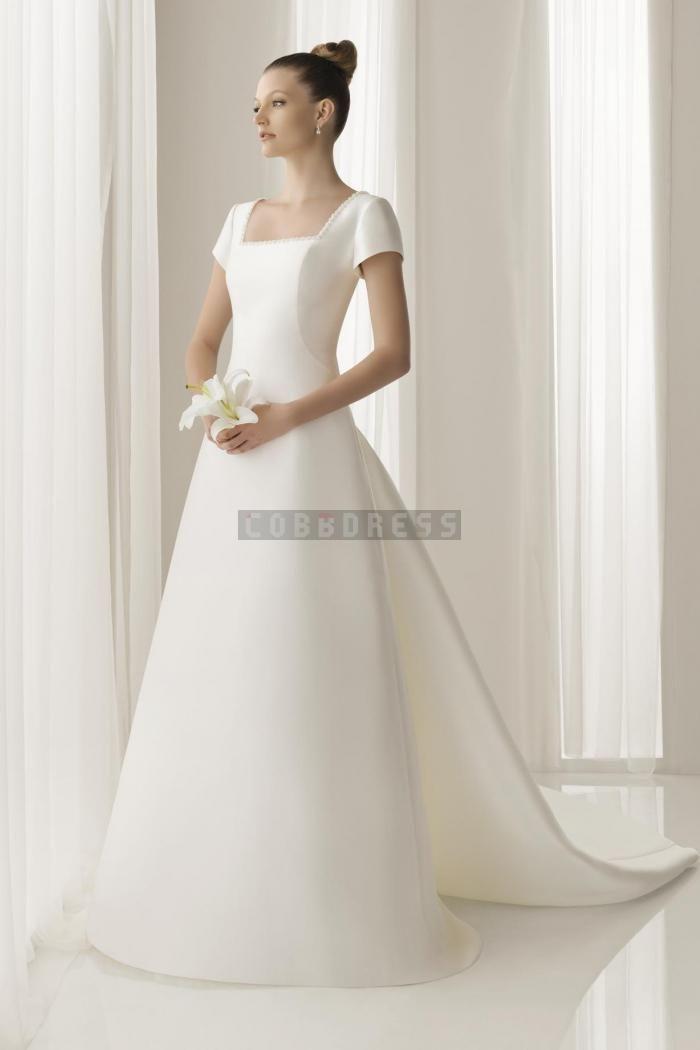 A-line Satin Short Sleeves Square Neck Wedding Dress