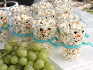 DIY Snowman Popcorn cups - A Winter One-derland | Baby Bean Design