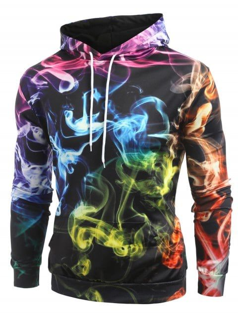 c889c505dccd Colorful Smog Print Pullover Hoodie - BLACK 2XL