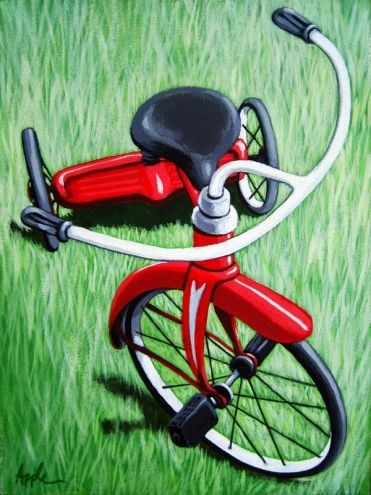 Little Red Tricycle original painting, painting by artist Linda Apple