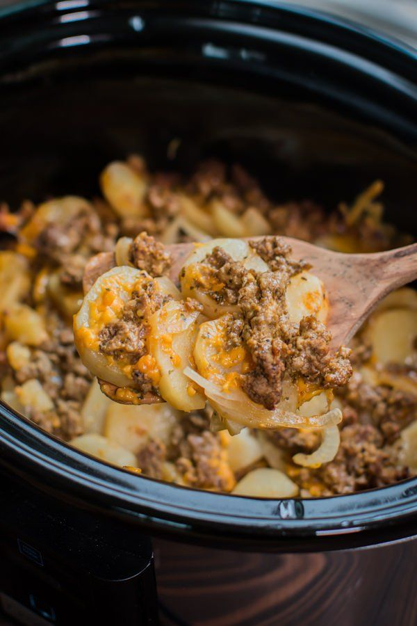 Slow Cooker Beef and Potato Au Gratin by The Magical Slow Cooker