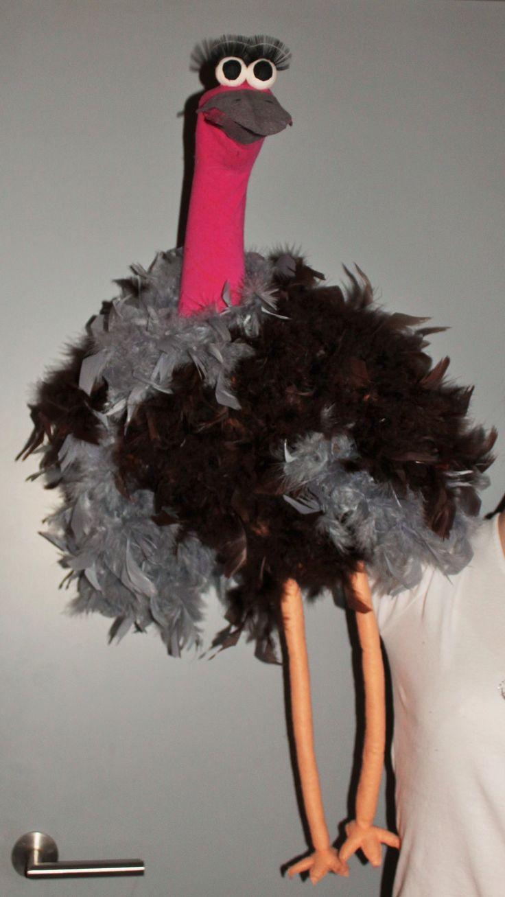 Struisvogel Pino - Zelf gemaakte sokkenpop