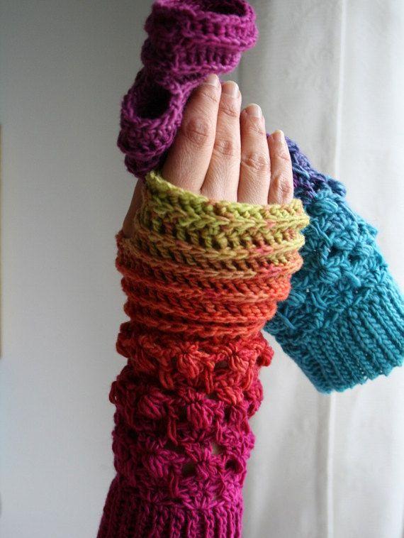 Crochet pattern, Instant Download Rainbow crochet arm warmer pattern, wrist warmer crochet pattern, fingerless glove pattern (246)