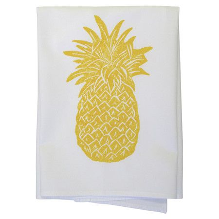 Showcasing a pineapple motif in goldenrod, this hand block printed cotton dishtowel lends a touch of tropical charm to your kitchen decor.  ...