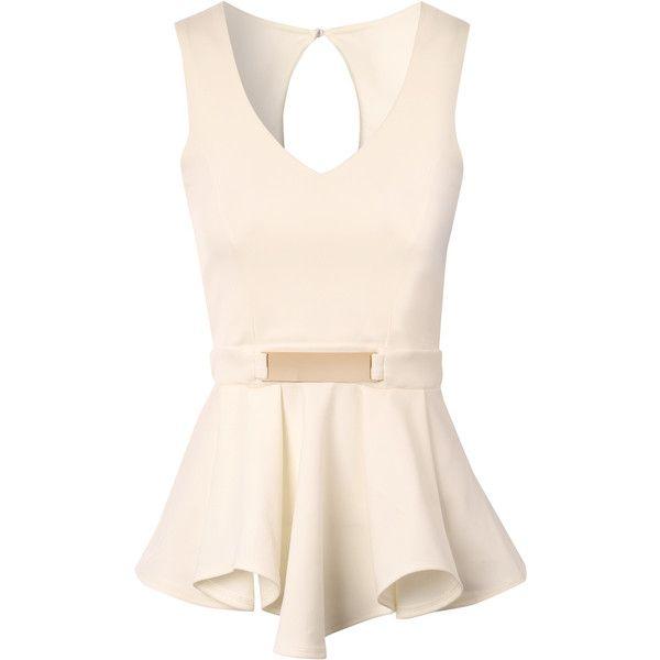 Jane Norman Deep V Peplum Top ($31) ❤ liked on Polyvore featuring tops, shirts, tank tops, blusas, blouses, cream, pink shirt, peplum tops, vneck shirts and cream shirt
