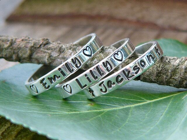 Stackable Rings Name Rings Personalized by NameJewelryDesigns, $25.00 I would love these for my thumb