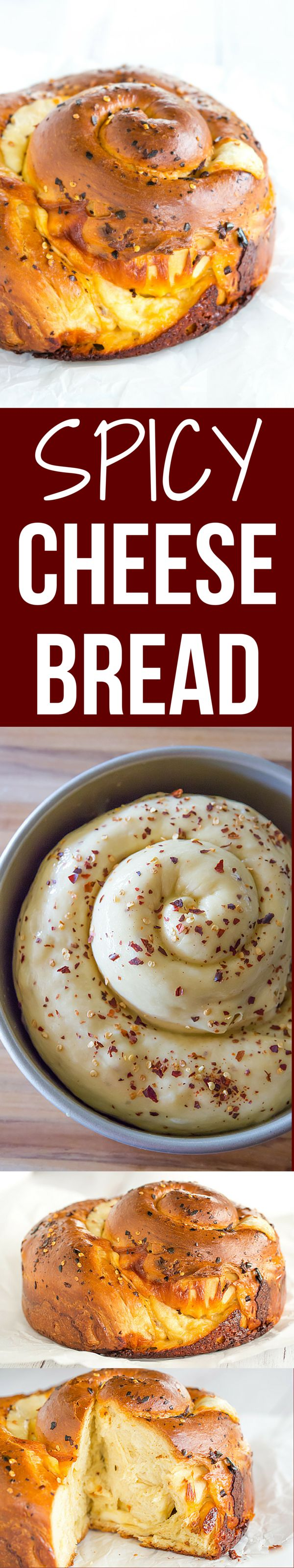 Spicy Cheese Bread - This recipe makes a huge loaf of a rich brioche-like bread loaded with provolone and Monterey Jack cheeses, and speckled with crushed red pepper flakes.   browneyedbaker.com