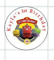 Personalized Chuggington round stickers party favors birthday by GingersInvites on Etsy