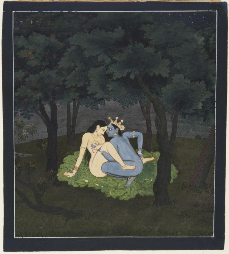 As Passion Took Over. Page from a dispersed series of the Gita Govinda (Song of the Dark Lord) of Jayadeva, Opaque watercolor with gold on paper, India, Kangra, or Guler, Himachal Pradesh, ca. 1775-1780, From the final chapter of the Gita Govinda series, this painting depicts Radha and Krishna in their forest love nest. The verse on the back of the page describes them at the threshold between foreplay and intercourse. ...