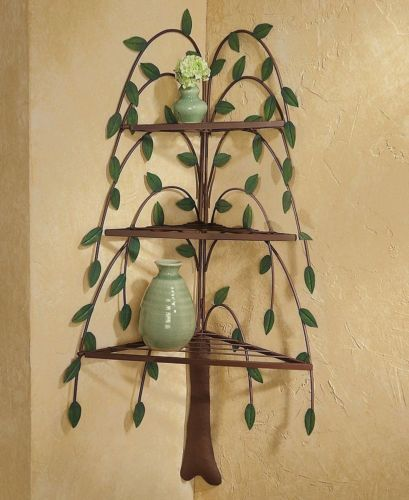 Metal Willow Tree Corner Shelf Wall Decor Country
