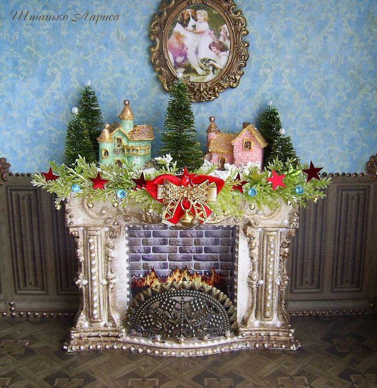 Купить Рождественский камин с подсветкой. Миниатюра 1:12 - камин, кукольный камин, рождественский камин