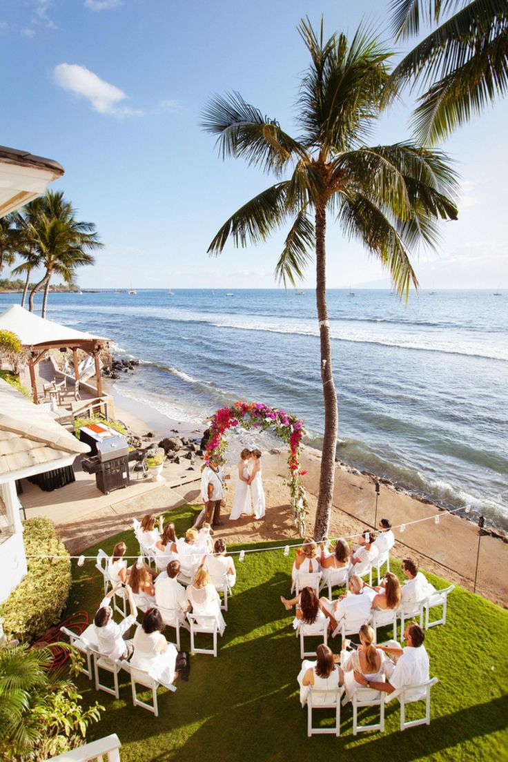 Intimate Hawaii Wedding Ceremony Layout White Chairs Palm Trees Ocean View