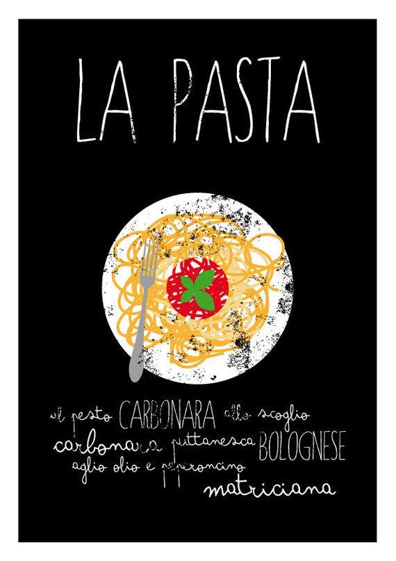 La Pasta   Typographic Print   Poster Art Print Italy Food Macaroni    Italian Kitchen Art
