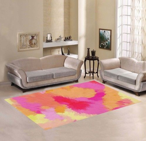 Pink, Orange and Yellow colors swirling, blending, melting into one another, creating this beautiful, watercolor area rug. Complement the livingroom, family room or bedroom with matching thr…