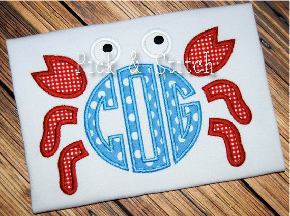 Made for Monogram Crab Applique Design Machine Embroidery INSTANT DOWNLOAD on Etsy, $4.00