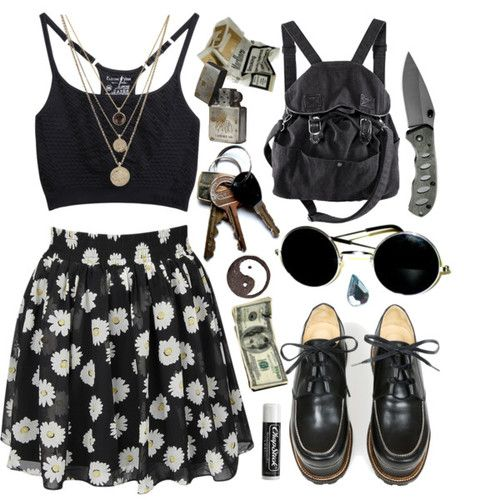 Edgy/grunge polyvore outfit. I don't know what's up with the knife haha
