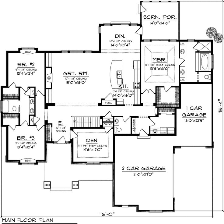 First Floor Plan of Ranch House Plan 97367; like layout, would want ea bedroom to have own bath (so guests wouldn't have to share)