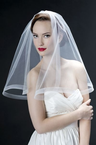 retro veil with horsehair braid hem=could be ribbon