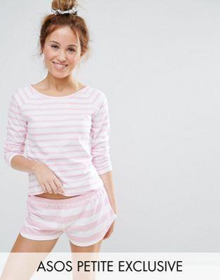 Пижамный комплект с шортами и футболкой в полоску ASOS PETITE