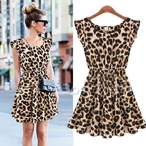 $12.99 Leopard Printing Dress Round Neck Dress Sleeveless Skirt - BornPrettyStore.com