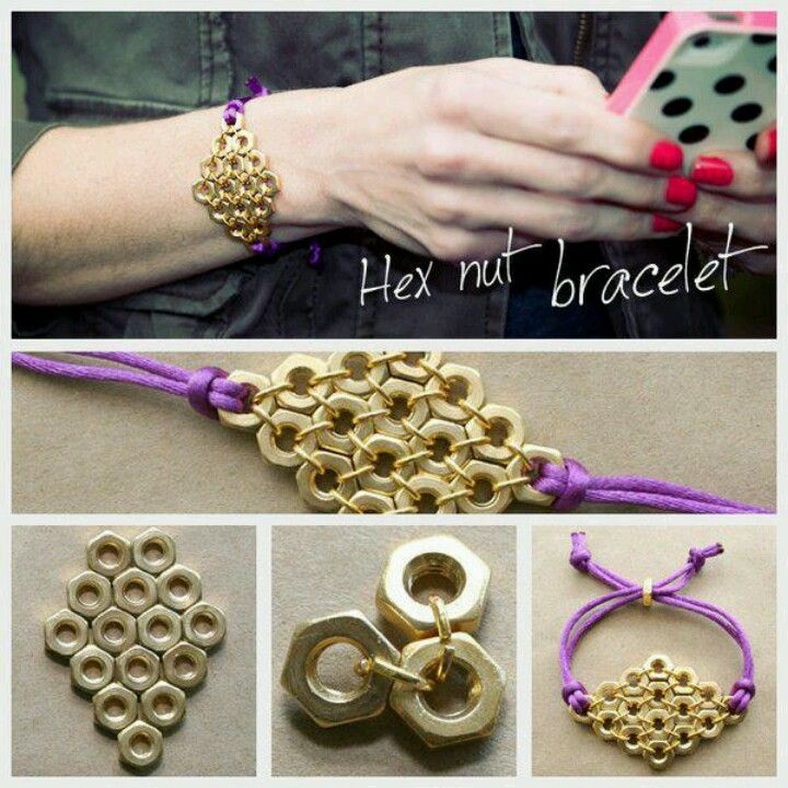84 best diy pulseritas images on pinterest diy jewelry hardware diy hex nut diamond bracelet diy fashion by trinkets in bloom ava here it is solutioingenieria Images