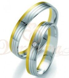 Βέρες γάμου δίχρωμες με διαμάντι Breuning  7101-7102
