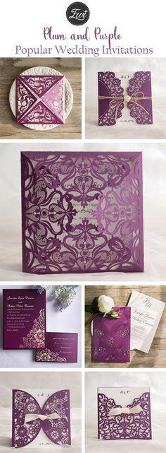 popular plum and purple wedding invitations from elegant wedding invites