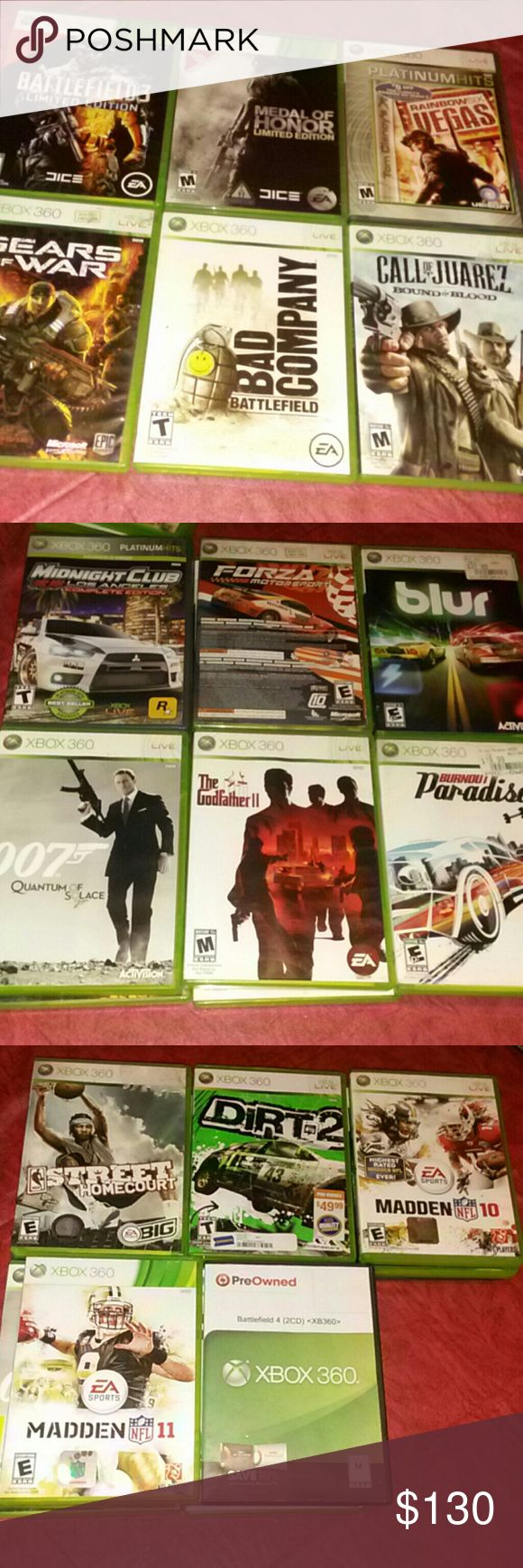 18 xbox games in working conditions 1- fallsou new Vegas ultimate edition never been open still has plastic 2-battlefield3 limited edition 3- Medal of honor limited edition 4-rainbows x Vegas 5-gears of war 6- bad company battlefield 7-call of Juarez bound  in blood 8-midnight club los Angeles complete edition 9- forza2 Motorsport 10-blur 11- 007 quantum of solace 12-the godfather 11 13- burnout Paradise 14-street homecourt 15- dirt2 16-madden NFL 10 17-madden NFL 11 18-battlefield 4 Xbox…