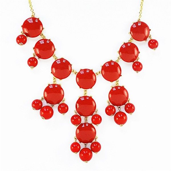 Red Bubble Necklace - bauble bib necklace with hanging beads ($11) ❤ liked on Polyvore featuring jewelry, necklaces, filigree necklace, bead necklace, beaded bib necklace, red bauble necklace and dangle necklace