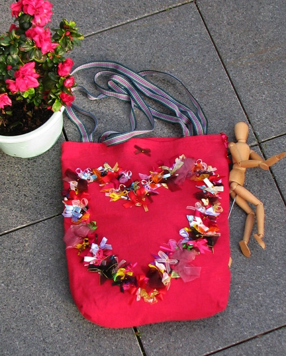 Red romantic bag with  ribbons 1/1 by Vvesna on Etsy,