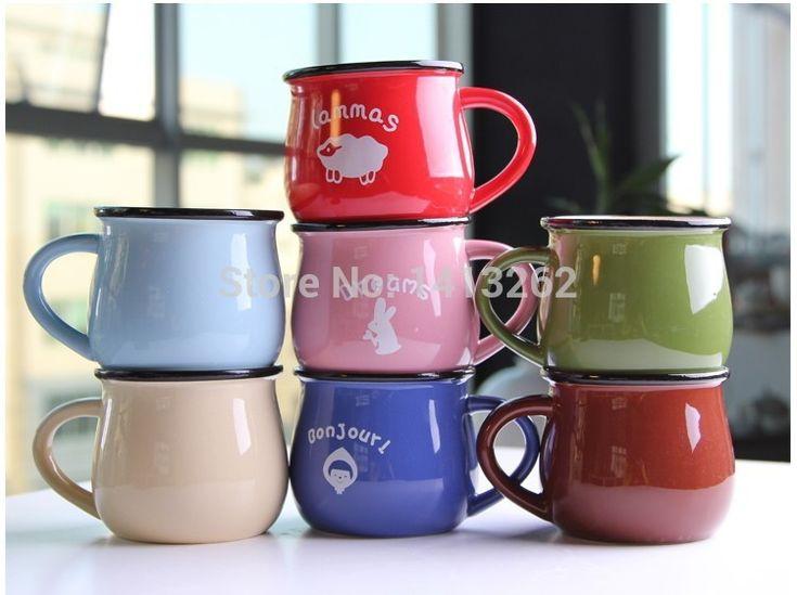 Zakka Imitation enamel cute ceramic cup mug 7 kinds of color ...